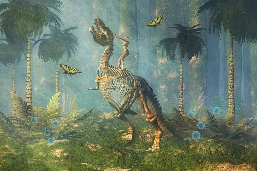 Bubbles Digital Art - Dinosaur Warrior  by Carol and Mike Werner