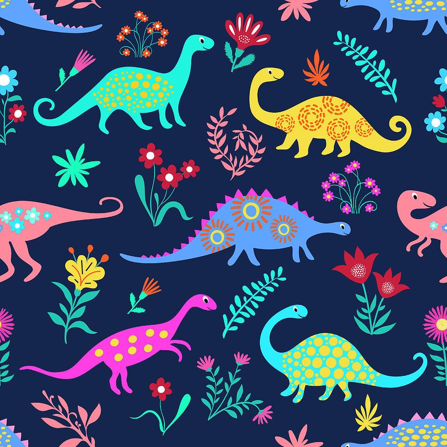 Dinosaurs Cute Kids Pattern For Girls Digital Art by Dudi-art