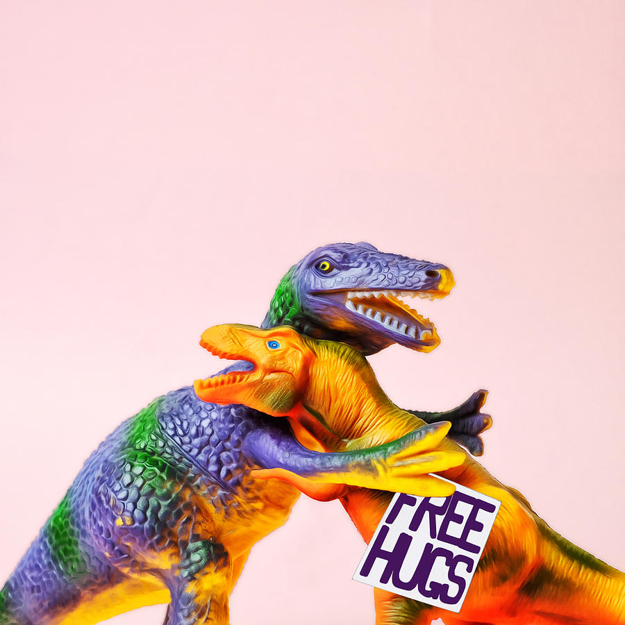 Dinosaurs Hugging Photograph by Juj Winn