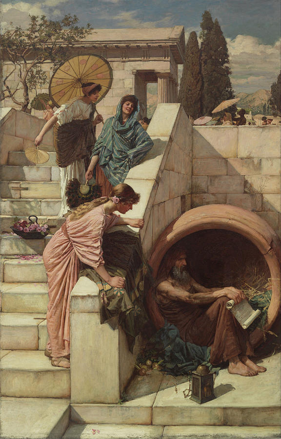 John William Waterhouse Painting - Diogenes by John William Waterhouse