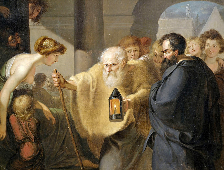 Unknown Painting - Diogenes by Unknown