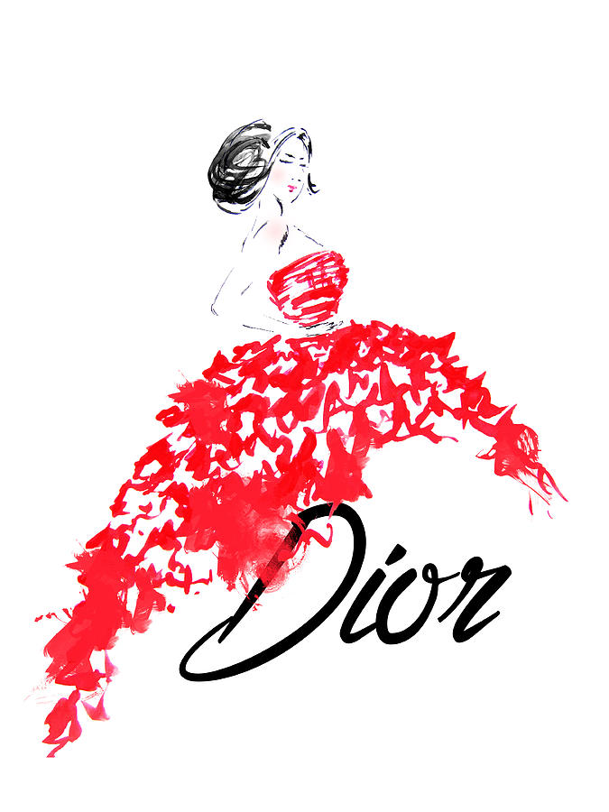 Dior Red Dress Watercolor Fashion Illustration Painting