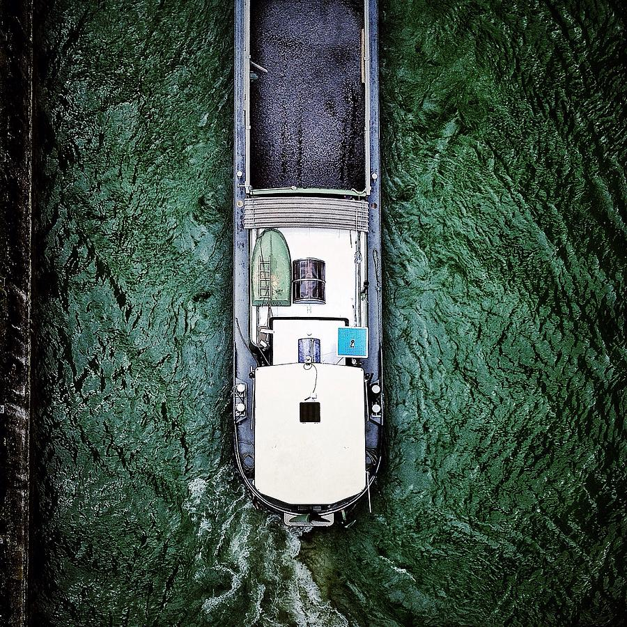 Directly Above Shot Of Barge In River Photograph by Claverie Olivier / Eyeem