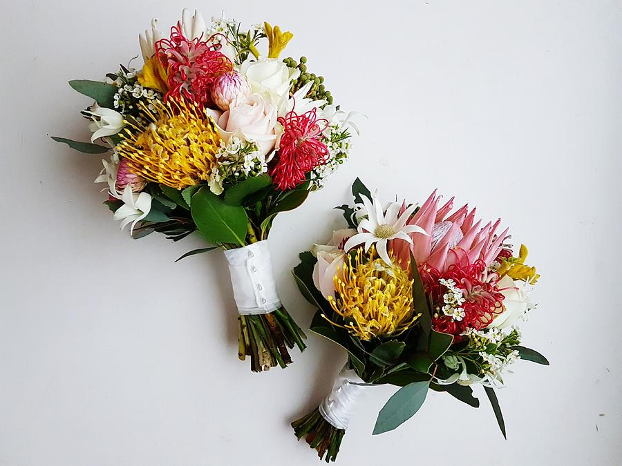 Directly Above Shot Of Flower Bouquets On White Background Photograph by Katherine Jackson / EyeEm