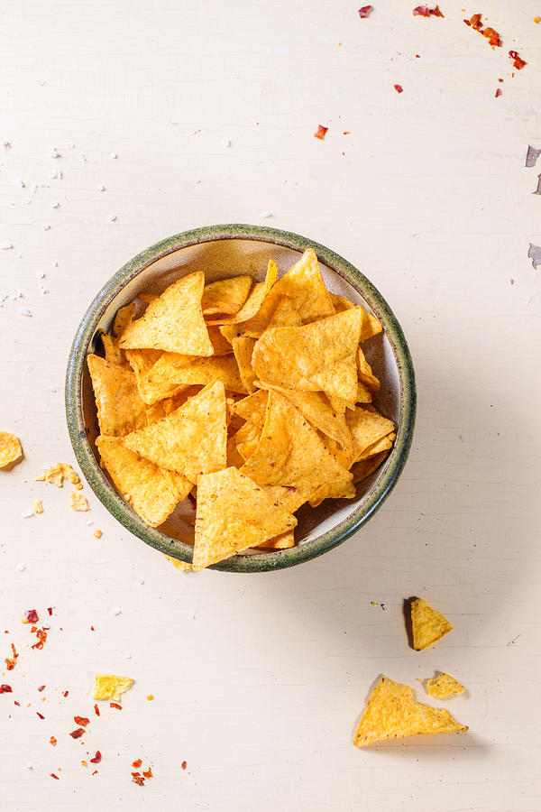 Directly Above Shot Of Nacho Chips In Bowl On Table Photograph by Natasha Breen / EyeEm