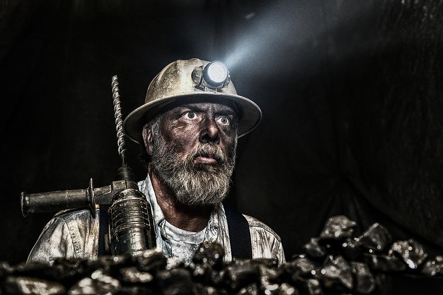 Dirty Coal Miner Wear Hardhat With A Hammer Drill Photograph by Cmannphoto