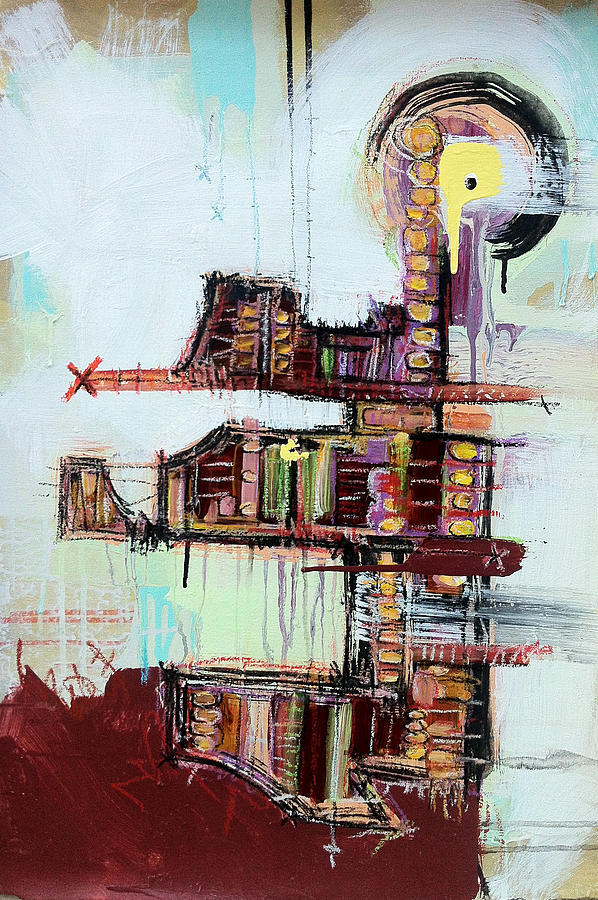 Abstract Painting - Disassembling The Fractured Bridge Of Reason A Quest For Understanding by Mark M  Mellon
