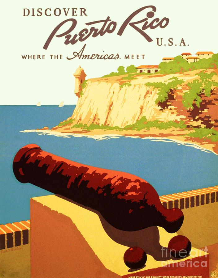 Art Deco Painting - Discover Puerto Rico by Pg Reproductions