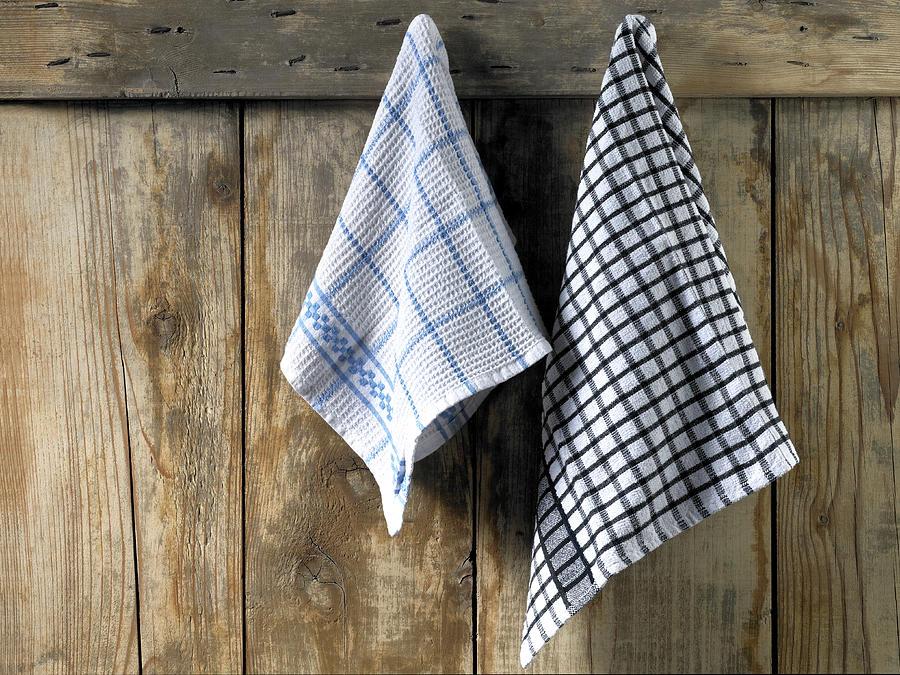 Dishcloths Hanging Photograph by Maria Toutoudaki