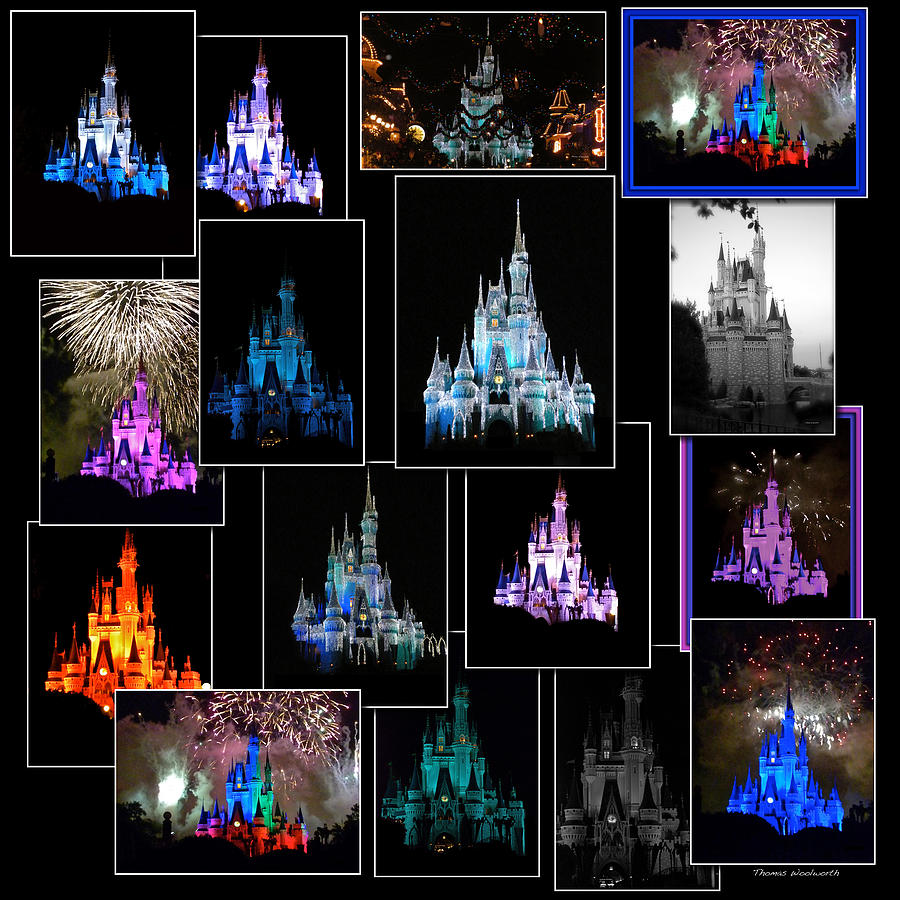 Rectangle Photograph - Disney Magic Kingdom Castle Collage by Thomas Woolworth