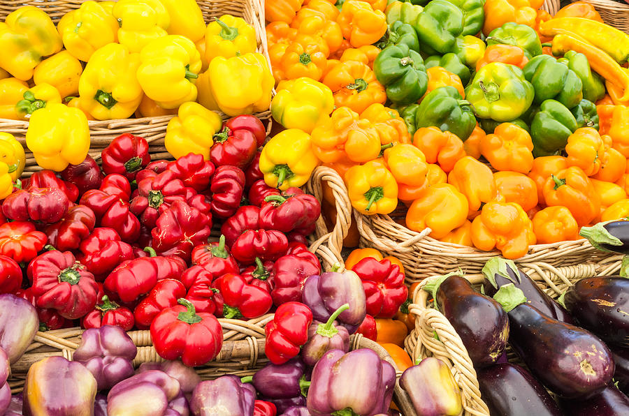 Agriculture Photograph - Display Of Fresh Vegetables At The Market by John Trax
