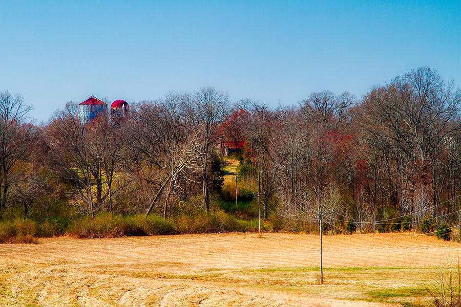 Silos Photograph - Distant Barns - Rural Art by Barry Jones