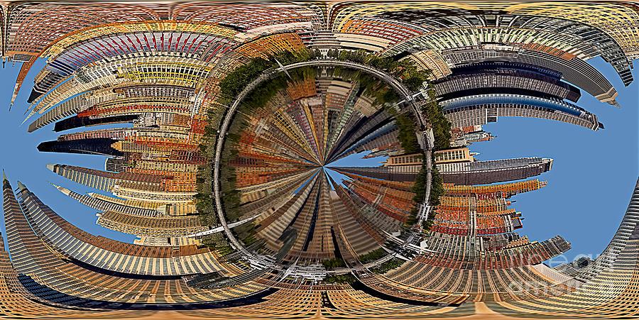 Manhattan Photograph - Distorted Lower Manhattan by Susan Candelario