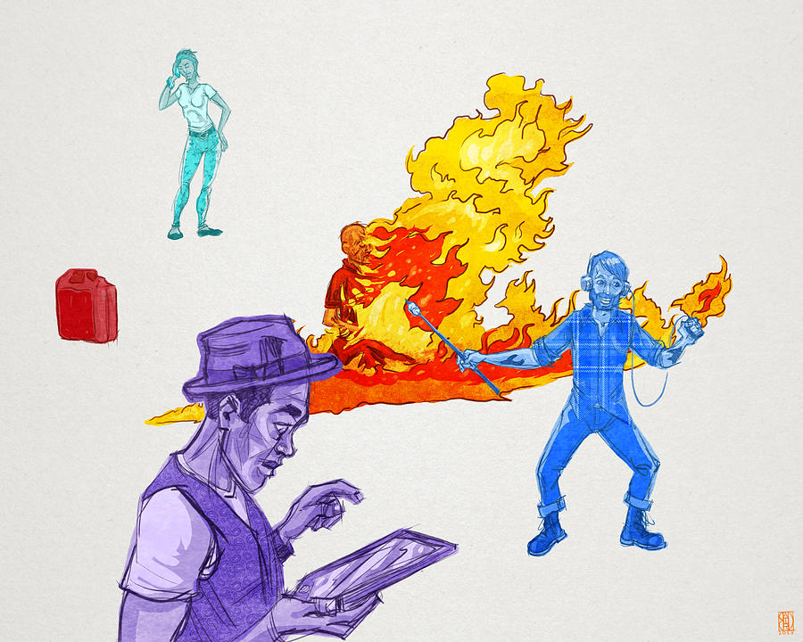 Figurative Digital Art - Distracted by Baird Hoffmire