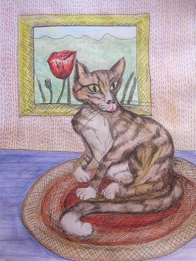 Cat On A Mat Painting - Distracted Cat by Cherie Sexsmith