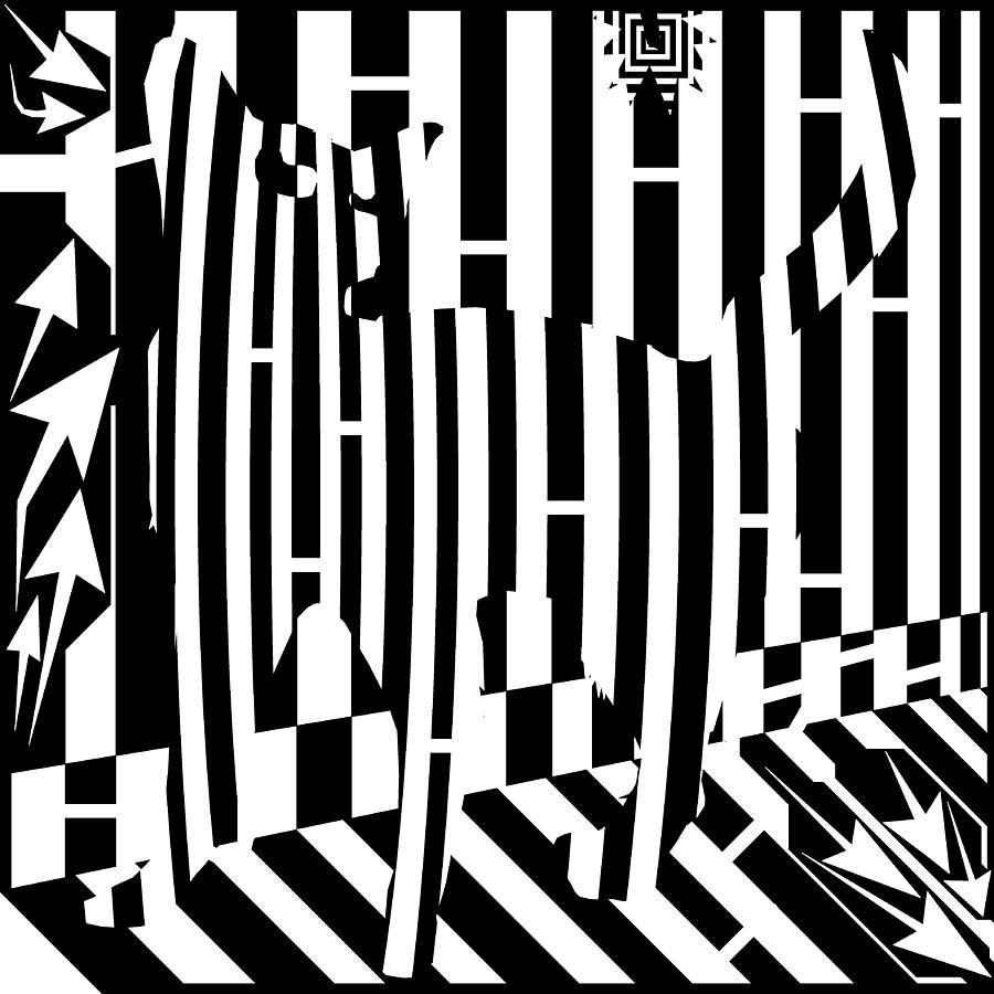 Maze Digital Art - Distracted Cat Maze by Yonatan Frimer Maze Artist
