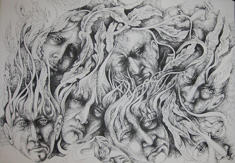 Portrait Drawing - Distress by Moshfegh Rakhsha