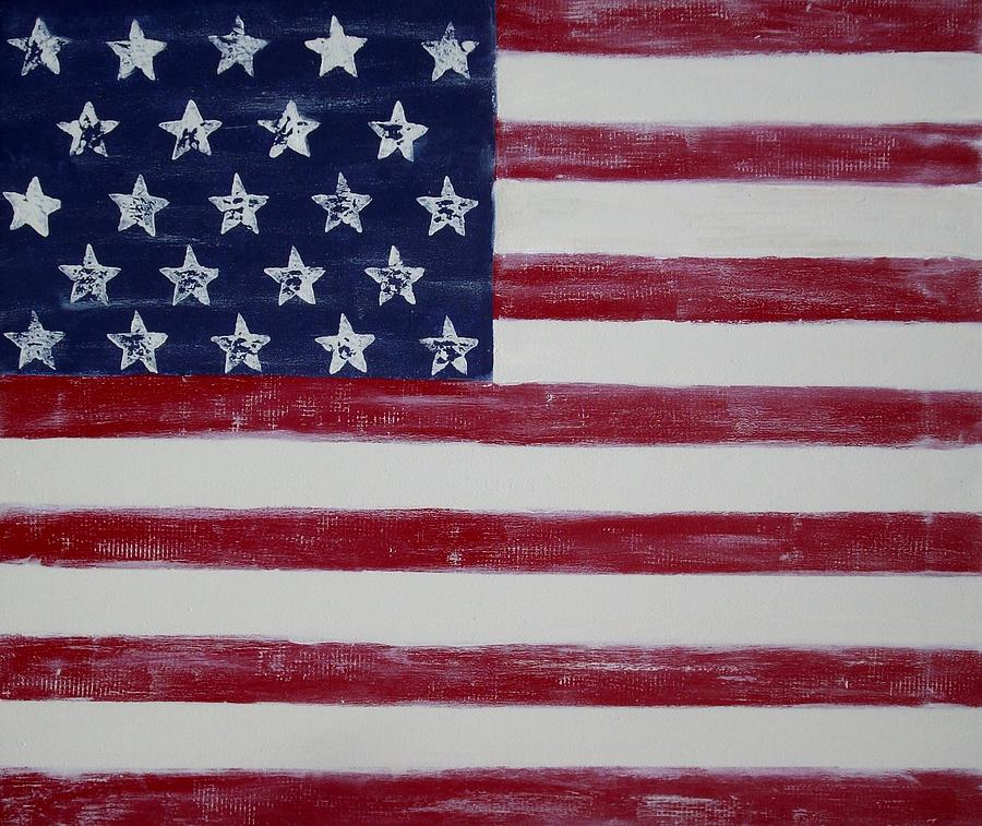 American Flag Painting - Distressed American Flag by Holly Anderson