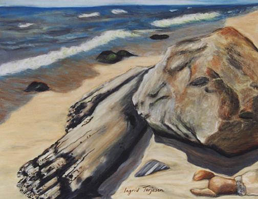 Ditch Plains Painting - Ditch Plains Montauk Rock and Log by Ingrid Torjesen