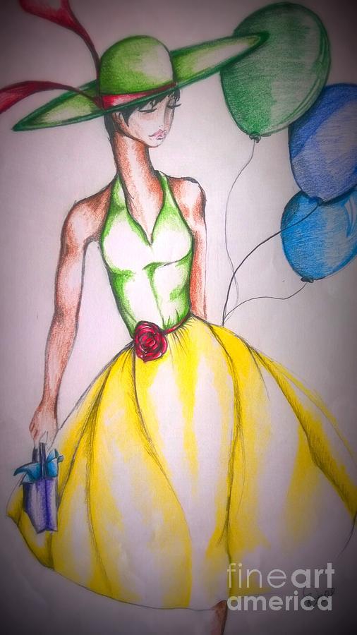 Lady Drawing - Divatude by Rhonda Falls