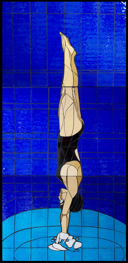 Water Glass Art - Diver by Kimber Thompson
