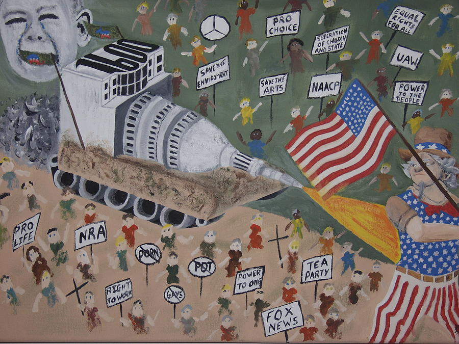 Political Satire Painting - Divided We Stand by Dean Stephens