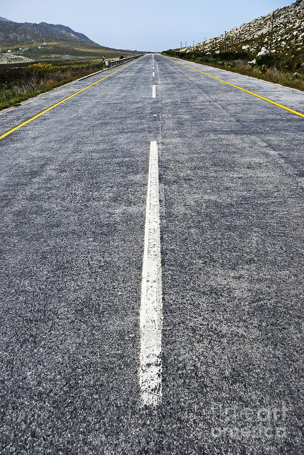 Journey Photograph - Dividing Line On A Highway Road by Sami Sarkis