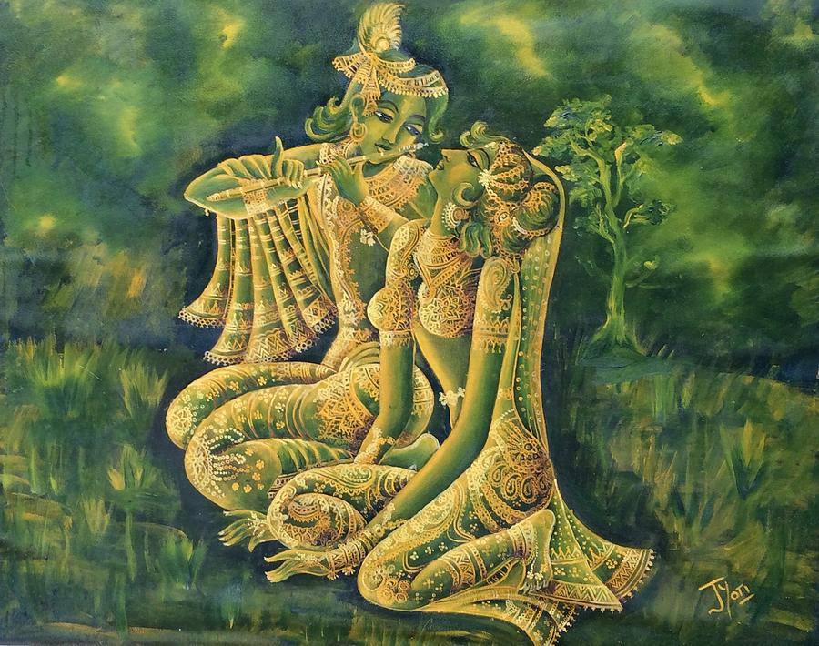 Divine Love Of Radha And Lord Krishna Playing Flute ...