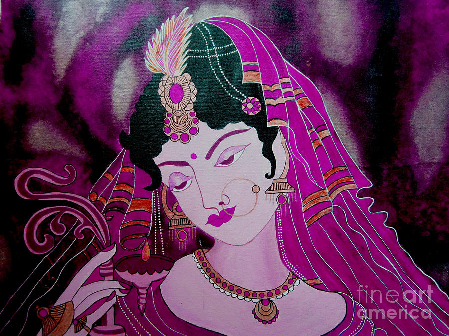 Woman Print Painting - 	Diya Girl				 by Priyanka Rastogi