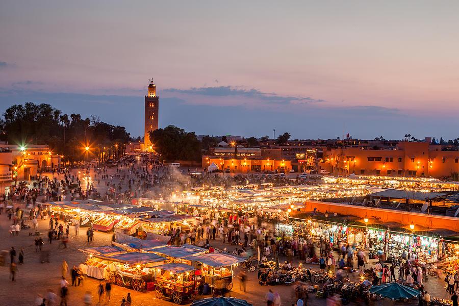 Djemma El Fna Marrakech by Night Photograph by Mlenny