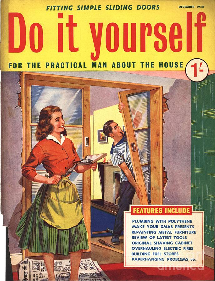 do it yourself 1950s uk diy doors drawing by the advertising archives. Black Bedroom Furniture Sets. Home Design Ideas