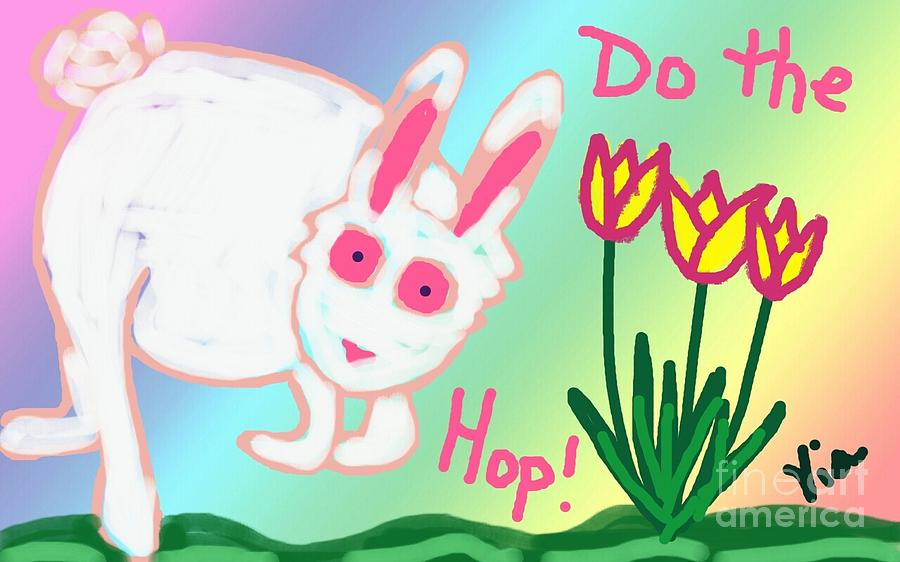 Easter Painting - Do The Hop by Judy Via-Wolff