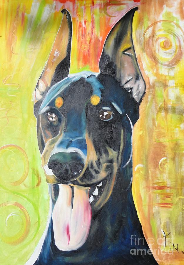 Pedigree Painting - Doberman by PainterArtist FIN