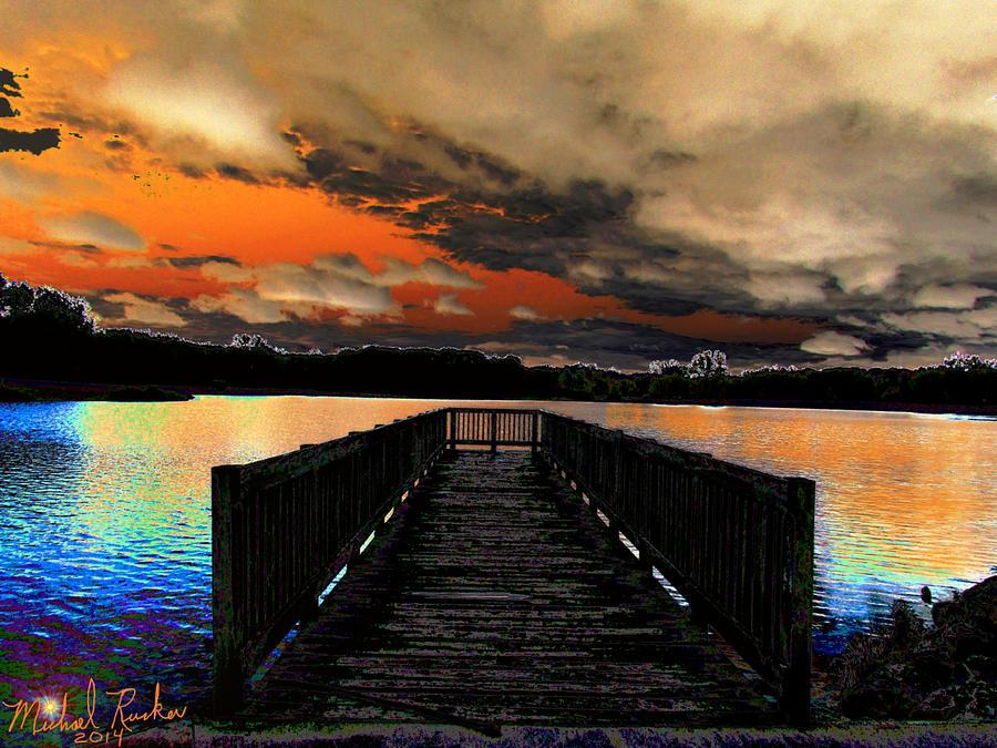 Dock Digital Art - Dock In The Park by Michael Rucker