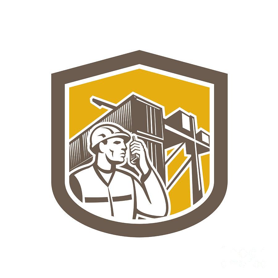 Dock Worker Digital Art - Dock Worker On Phone Container Yard Shield by Aloysius Patrimonio