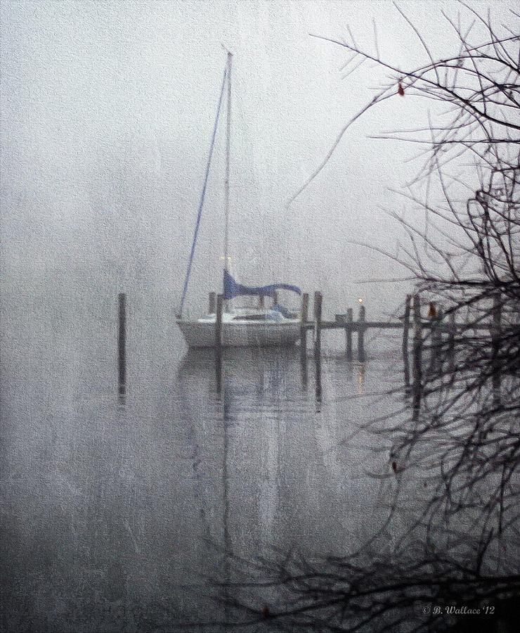 2d Photograph - Docked In The Fog - Texture Effect by Brian Wallace
