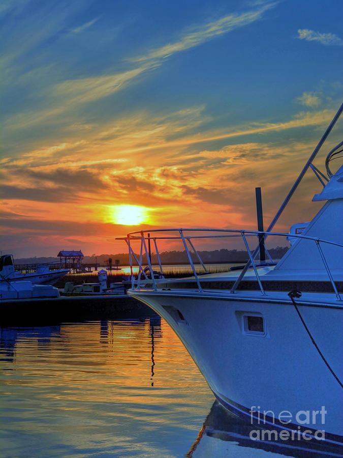 Sunset Photograph - Dockside Sunset by Kathy Baccari