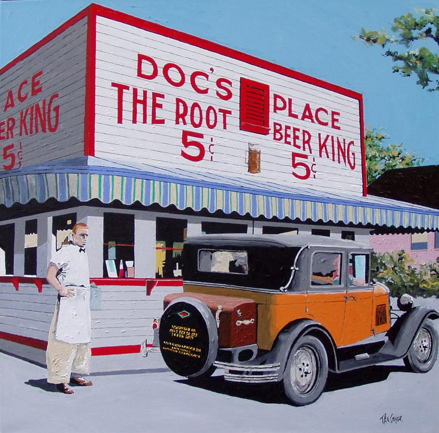 Sacramento Painting - Docs Root Beer East Sacramento by Paul Guyer