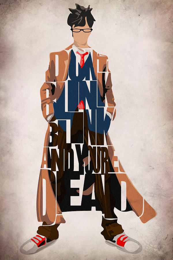Doctor Who Painting - Doctor Who Inspired Tenth Doctors Typographic Artwork by Inspirowl Design