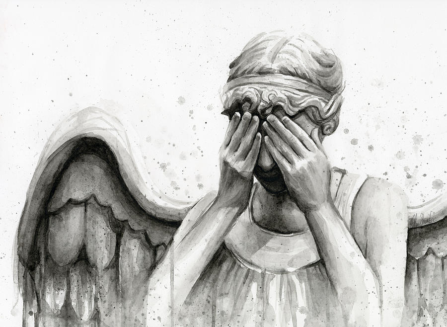 Who Painting - Doctor Who Weeping Angel Dont Blink by Olga Shvartsur