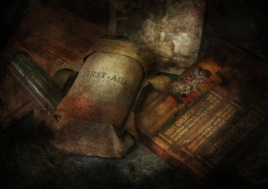 Hdr Photograph - Doctor - Wwii Emergency Med Kit by Mike Savad