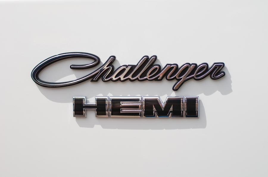 Muscle Car Photograph - Dodge Challenger Hemi Emblem by Jill Reger