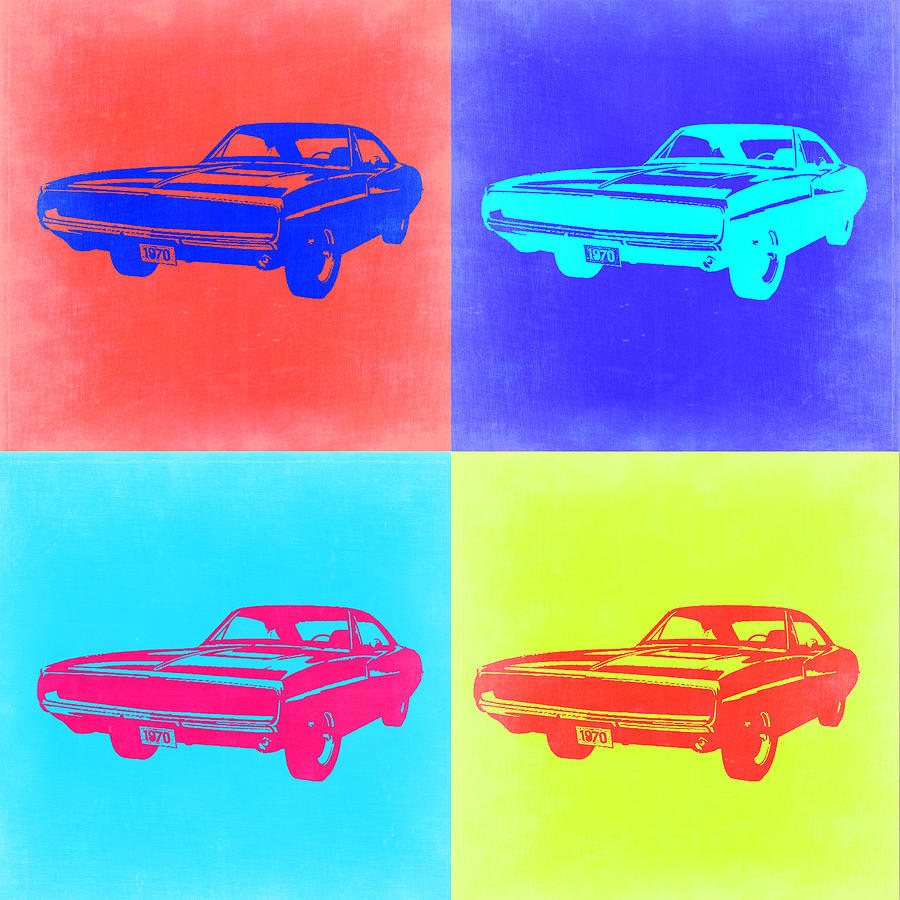Dodge Charger Painting - Dodge Charger Pop Art 1 by Naxart Studio