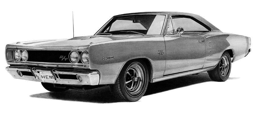 Automobile Drawing - Dodge Coronet by Lyle Brown