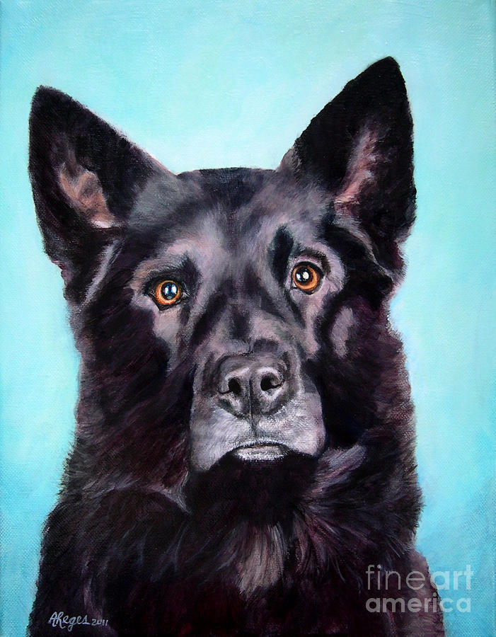 Dog Painting - Does This Include Me Black Dog by Amy Reges