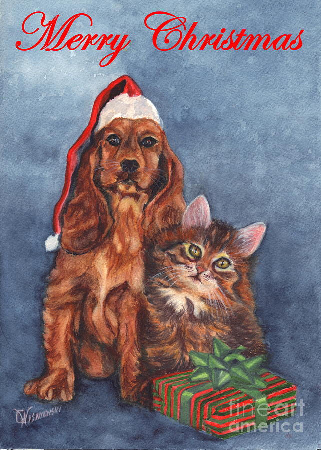 greeting painting dog and cat merry christmas by carol wisniewski