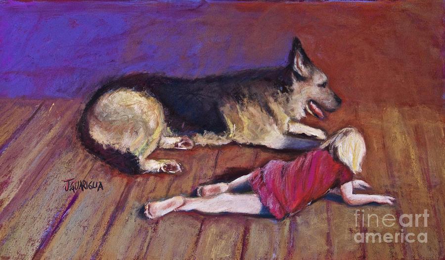 German Shepherd Pastel - Dog And Child by Joyce A Guariglia