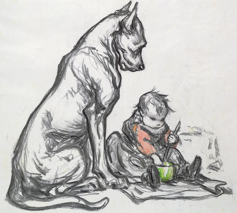 Infant Painting - Dog And Child by Robert Noir