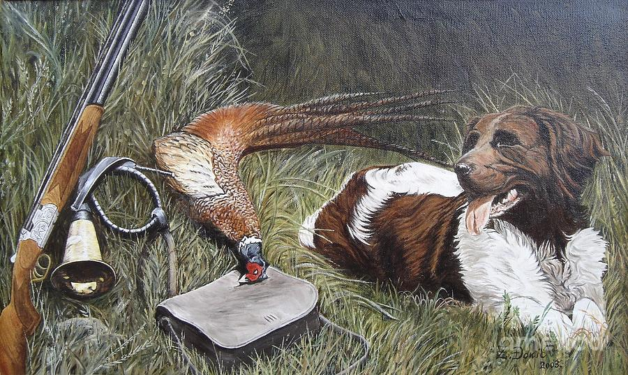 Oil Painting - Dog And Pheasant by Zeljko Djokic