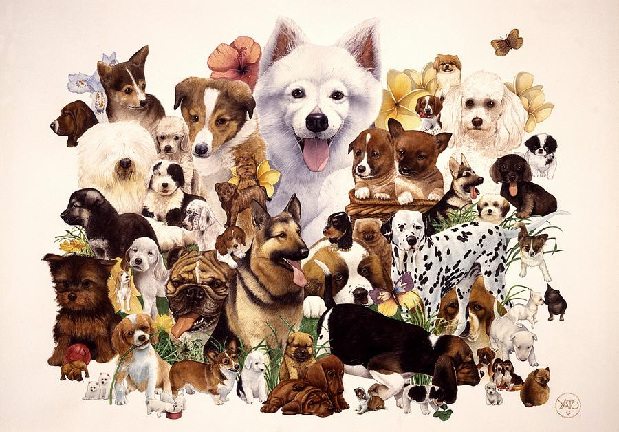 Dogs Canvas Prints Painting - Dog And Puppies by John YATO
